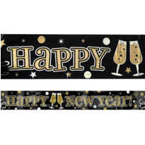 Gold & Silver Foil New Years Banner 9ft