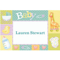 Custom Pastel Patchwork Baby Shower Thank You Notes
