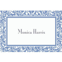 Pastel Blue Ornamental Scroll Custom Thank You Note