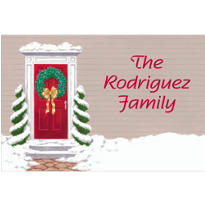 Snowy Front Door Custom Christmas Thank You Note
