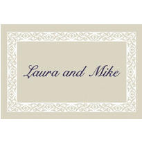 Embellished Border Beige Custom Thank You Note
