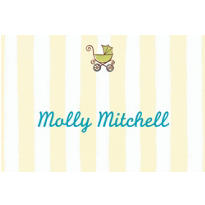 Tiny Carriage on Stripe Custom Baby Shower Thank You Note