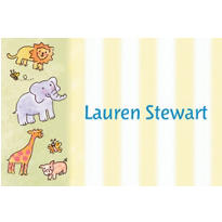 Tossed Animals & Stripe Custom Baby Shower Thank You Note