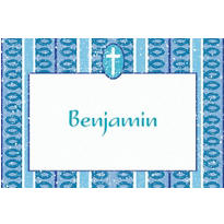 Cross with Blue Stripe Custom Thank You Note