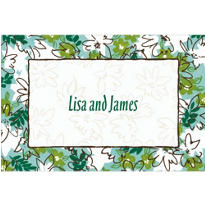 Tossed Stylized Floral Custom Thank You Note