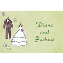 Bride & Groom Outfits Custom Wedding Thank You Note