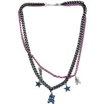Pink and Black Charm Necklace