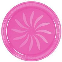 Bright Pink Swirl Plastic Platter