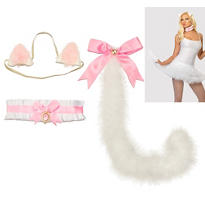 White and Pink Anime Kitty Accessory Kit - Cat