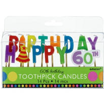 Dots and Stripes 60th Birthday Cake Candle Picks