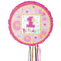 Pull String Round Pink 1st Birthday Pinata