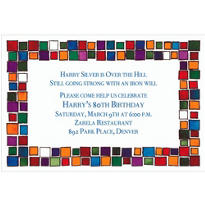 Colorful Mosaic Border Custom Invitation