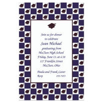 Mortarboard Checkerboard Custom Invitation
