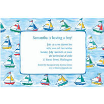Sailing Sailboats Custom Baby Shower Invitation