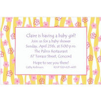Ribbons & Little Flowers Custom Baby Shower Invitation