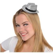 Silver Glitter Mini Cowboy Hat