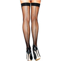 Adult Backseamed Black Fishnet Thigh High Stockings