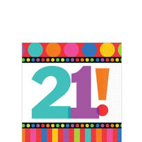 Dots & Stripes 21st Birthday Beverage Napkins 16ct