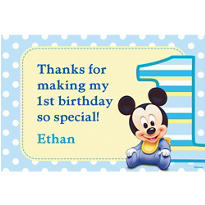 Mickey 1st Birthday Custom Thank You Note