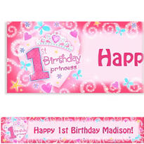 Princess 1st Birthday Custom Banner 6ft