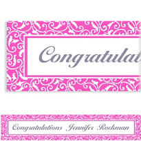 Bright Pink Ornamental Scroll Custom Banner 6ft