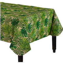 Island Palm Flannel-Backed Vinyl Table Cover 90in