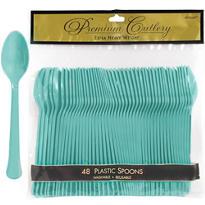 Robin's Egg Blue Premium Plastic Spoons 48ct