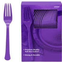 Purple Premium Plastic Forks 100ct