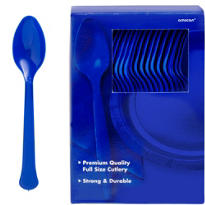 Royal Blue Premium Plastic Spoons 100ct
