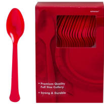 Red Premium Plastic Spoons 100ct