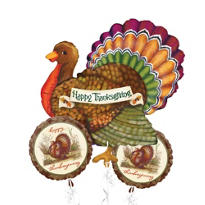 Foil Thanksgiving Turkey Balloon Bouquet 3pc