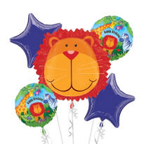 Jungle Animals Birthday Balloon Bouquet 5pc