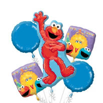 1st Birthday Sesame Street Balloon Bouquet 5pc