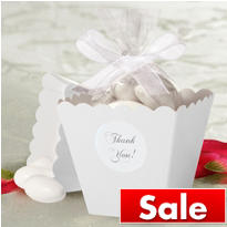 White Popcorn Box Wedding Favor Kit 50ct