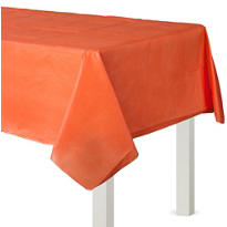 Orange Flannel-Backed Vinyl Table Cover