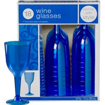 Royal Blue Premium Plastic Wine Glasses 18ct