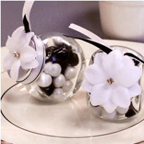 White Rhinestone Flower Favor Accents