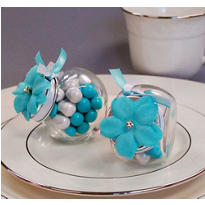 Robin's Egg Blue Rhinestone Flower Wedding Favor Accessory 6ct