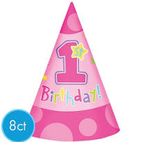 Hug & Stitches Girl's 1st Birthday Party Hats 8ct