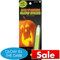 Jack O' Lantern Glow Sticks with Stand 3ct