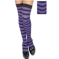 Adult Purple and Black Thigh High Stockings