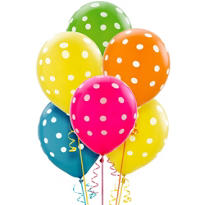 Latex Bright Polka Dots Printed Balloons 12in 20ct