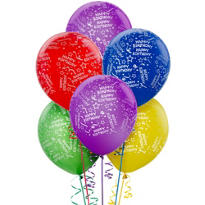 Latex Primary Confetti Printed Balloons 12in 20ct