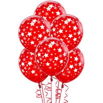Latex Red Star Printed Balloons 12in 6ct