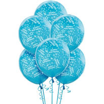 Latex Caribbean Confetti Birthday Printed Balloons 12in 6ct
