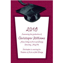 Burgundy Congrats Grad Custom Graduation Announcement