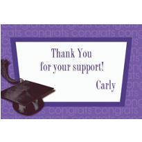 Purple Congrats Grad Custom Graduation Thank You Notes