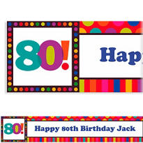 Birthday Dots & Stripes 80 Custom Banner 6ft