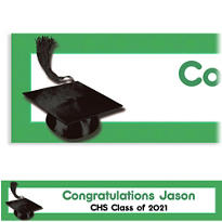 Green Congrats Grad Custom Graduation Banner 6ft