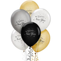 Black, Silver and Gold New Years Latex Balloons 15ct